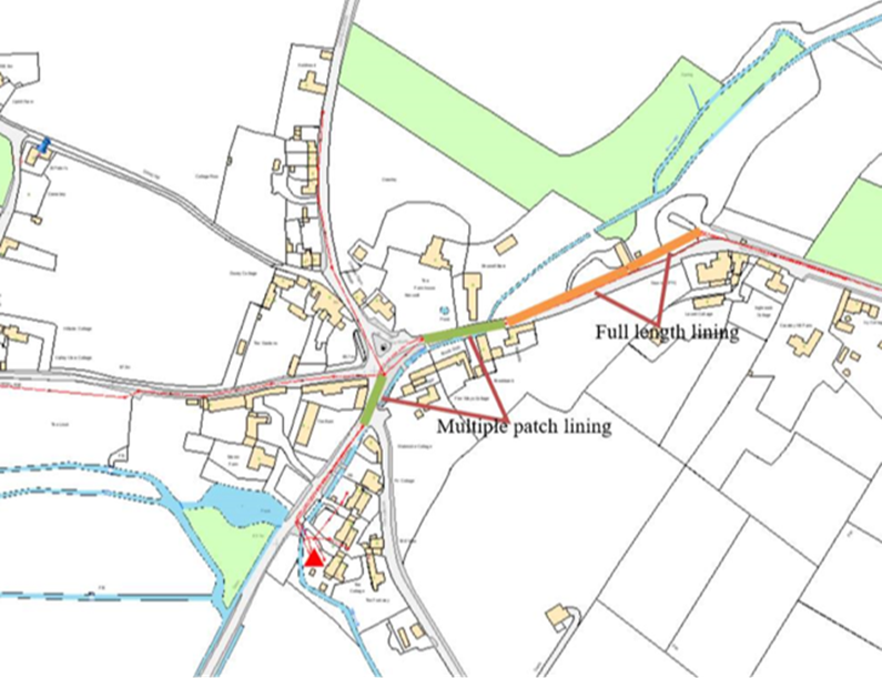 Map showing Thames Water sewer patch lining attempt in December 2020